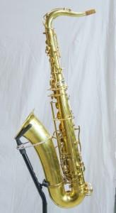 Das einhändige Saxophon sieht fast aus wie ein reguläres Saxophon. Durch zusätzliche Klappen und Verlängerungen kann man es jedoch mit nur einer Hand spielen.