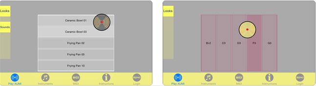 Zu sehen sind zwei Bildschirmoberflächen nebeneinander, die das Programm zeigen. Auf der Leiste unten kann man verschiedene Funktionen wie Instrumente einstellen oder Informationen erhalten.
