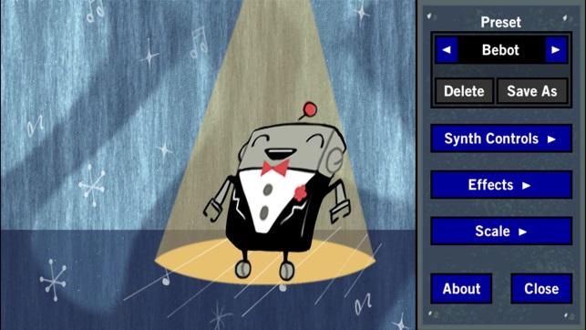 Ein Computerbildschirm zeigt einen kleinen Cartoon-Roboter im schwarzen Anzug, der auf einer Bühne tanzt. Rechts befindet sich eine Menüleiste, die unterschiedliche Funktionen und Effekte ermöglicht.