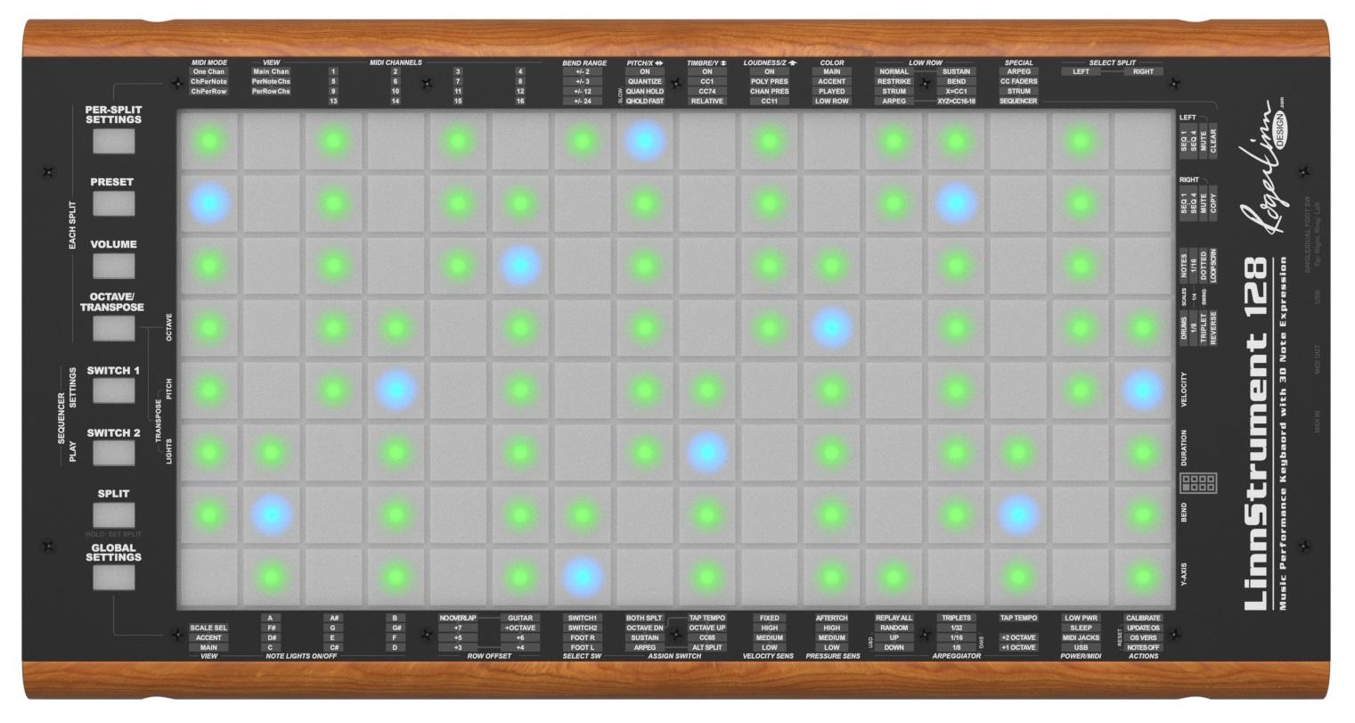 Zu sehen ist ein in Holz gefasster Kasten. Auf der Oberfläche ist ein hellgraues mit einem Gittermuster versehenes Display, auf dem einige Kästchen grün oder blau leuchten. Um das Gitter herum sind Knöpfe mit Bezeichnungen, die unterschiedliche Funktionen haben.