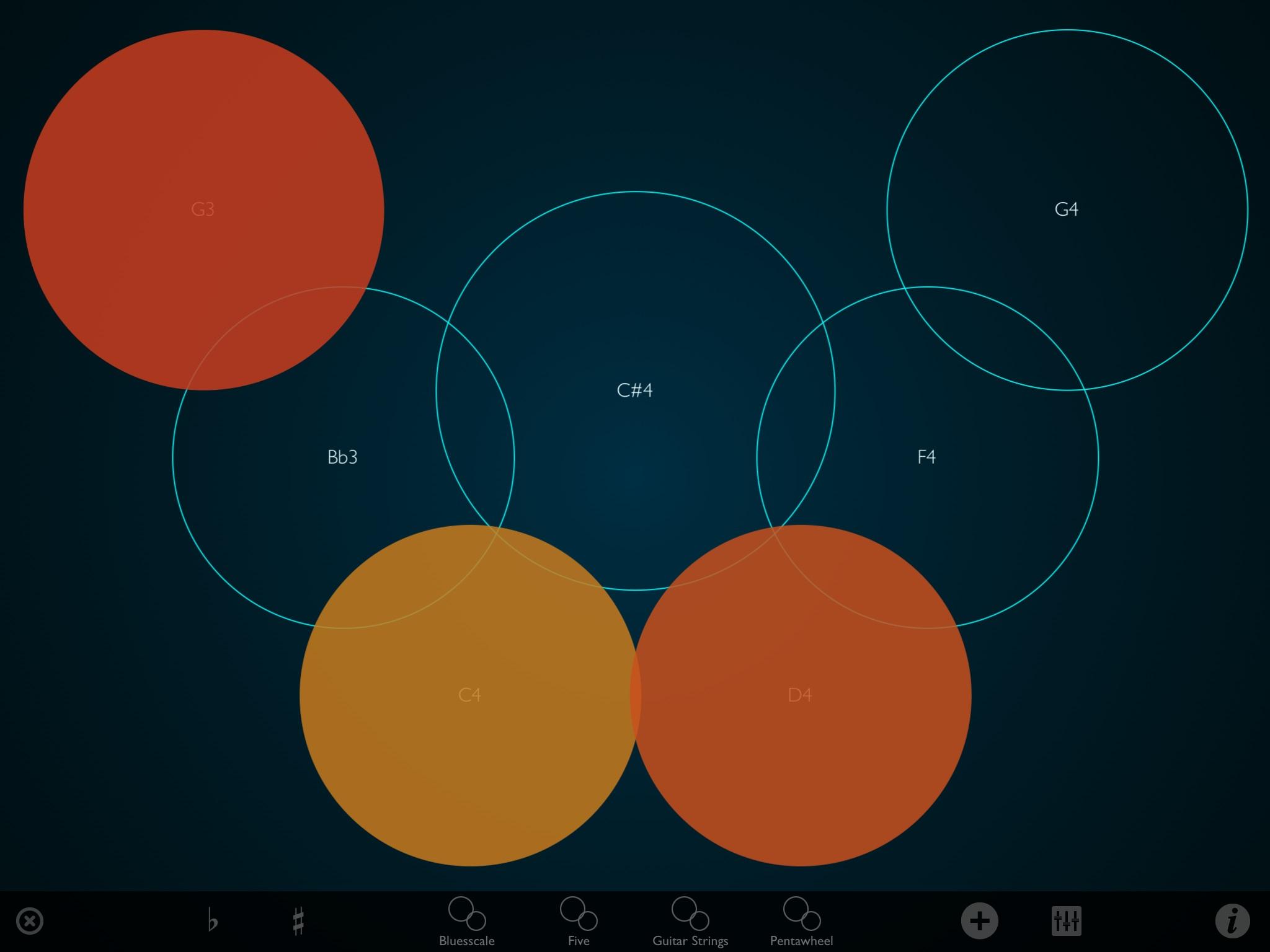 Eine Bildschirmoberfläche hat einen dunkelblauen Hintergrund, auf dem sieben unterschiedlich große Kreise sind. Drei sind orange-gelb gefüllt. Die ungefüllten Kreise haben  jeweils eine Notenbezeichnung. Unten gibt es eine Leiste, die verschiedene Funktionen ermöglicht.