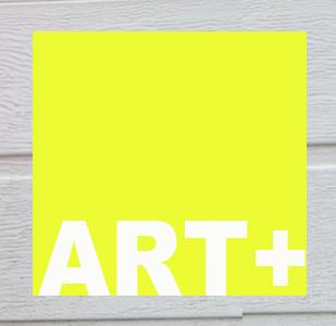 Logo ARTplus: Ein Quadrat in gelber Leuchtfarbe, mit Schriftzug ARTplus